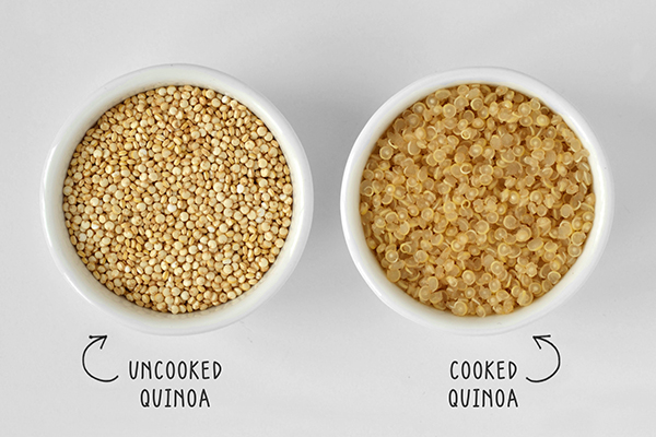 Cooked and uncooked quinoa